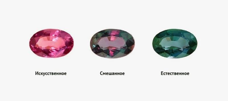 александрит при разных освещениях