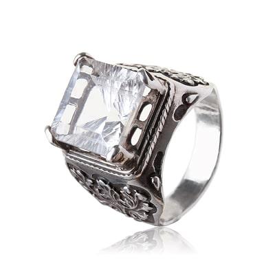 Кольцо с камнем - горный хрусталь