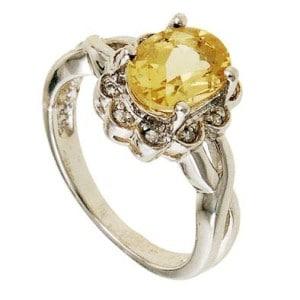 Кольцо с желтым бериллом